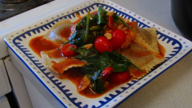 filet de peixe com ravioli de legumes